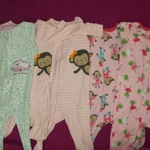 5 Carters Footed Pajamas 24 mon 2T Frog Monkey Cat